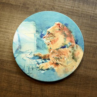 Ceramic Suction Cup Mat - Night Cat House
