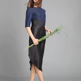 Silk Dress Dress Blue Grass set