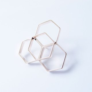 Geometric Landscape 19 Metal Brooch