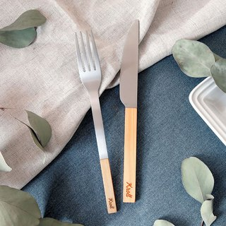 [KROLL] home knife and fork / cypress wood (titanium knife + titanium household fork)