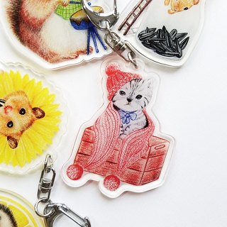 Keychain - Wooden box kitten