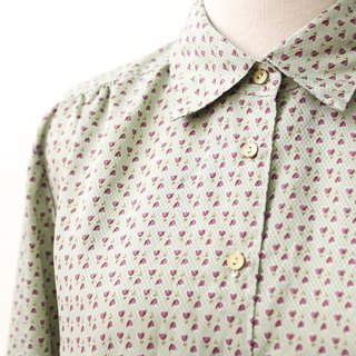 Retro Japanese-made purple flower green thin vintage shirt