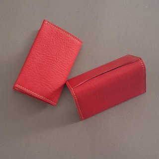 """RENÉE"" Folding Business Business Card Holder Tanning Carving Leather / Vegetable Tanning / Vegetable Tanning Warm Red"
