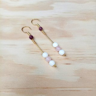 【Hongsheng jewelry】 pink romantic earrings ear natural stone (pink crystal)