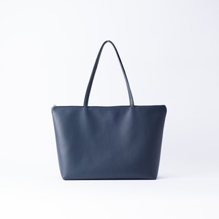 Plain leather shoulder tote bag dark blue