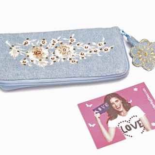 Love to Shine Embroidery Denim Wallet