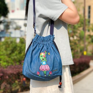 Embroidered Denim Drawstring Across-body Bag - Can You See The Beautiful Flowers