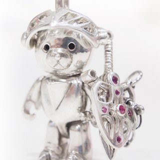 [Shabo Mi silver doll] Bear Alliance Bear Alliance - the top of the Light / Dark Knight Bear sword can be held in the hands or inserted into the shield, inlaid with a thick red silver chain! Designer Toy Jewelry