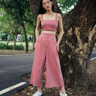 ROSE PINK WIDE CROP PANTS WITH BACK SHIRRING