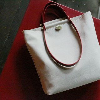 ADay leather combination canvas bag / red - can be lettering