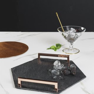 【UK】●Hexagonal Serving Tray (Straight Edge) with Copper Handles●  The Just Slate Company