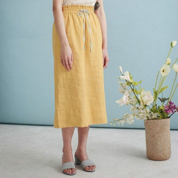 Mango Tango Mustard Yellow Drawstring Notch 100% Linen Midi Skirt Elasticated Waistband | Fanata Independent Design