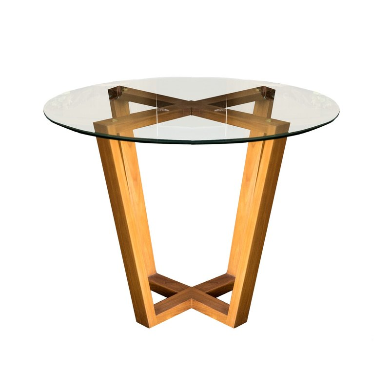 Design Teak Glass Round Table / Negotiation Table Round Table With Glass    Designer Decobali   Pinkoi