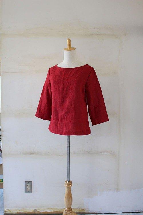 暗紅*船領襯衫100%麻立陶宛