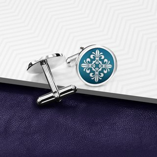 Wedding Cufflinks - Fleur de lis cufflinks 925 Silver - Color enamel cufflinks