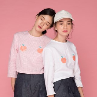 PEACH GIRL TOP (pink / white)