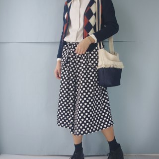 Design Handmade - Black and White Dot Apple Printed Outturn Pocket Wide Pants