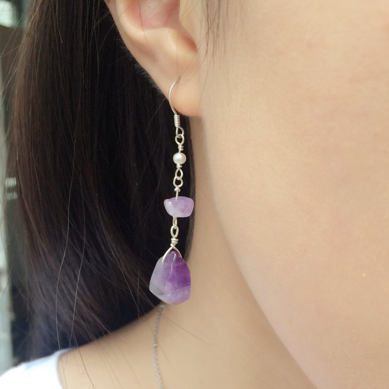 925 silver lavender amethyst pearl earrings irregular temperament models Miss Flora | 【Violet Series】
