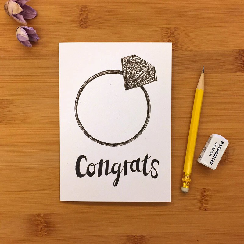 CONGRATS RING ring wedding card universal card hand-painted illustration of environmentally friendly paper imported cards 073