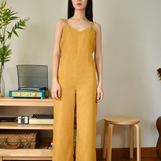 MUSTARD YELLOW JUMPSUIT WITH SPAGHETTI STRAP AND BACK ZIPPER