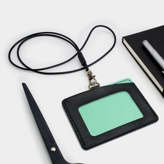 RENEW - Horizontal ID card holder, card holder black + lake water green vegetable tanned leather hand-sewn