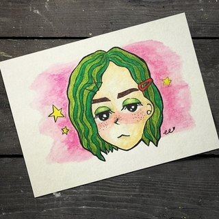 :: Fantasy girl with watermelon head :: Postcard Card
