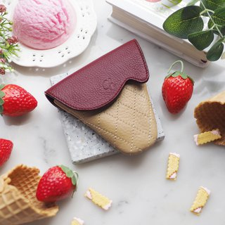 Soft-serve (Strawberry) : Mini coin purse, Burgundy purse