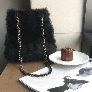 SAMEDi - Faux Fur Triple Bucket Bag - Classic Black - (Side Backpack / Shoulder Bag / Satchel)
