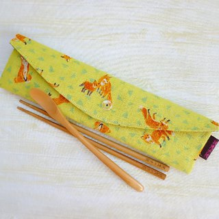 (Hard version) Fox mother and child extended to increase the version of environmental protection tableware package chopsticks set straw bag