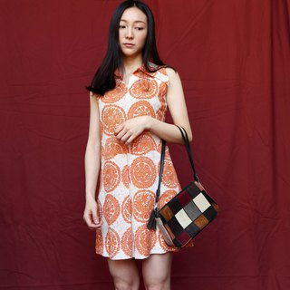 Pumpkin Vintage. Ancient print dress