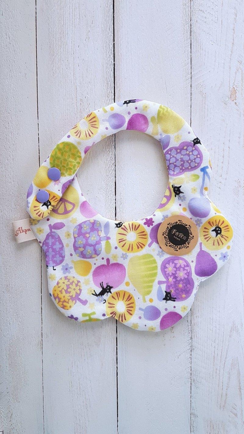 水果貓八層紗造型圍兜口水巾-紫
