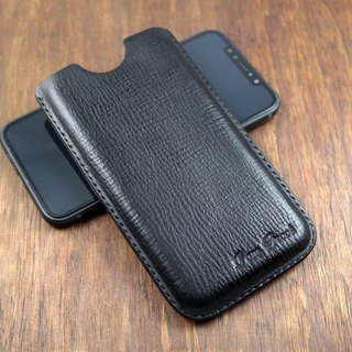 APEE leather handmade ~ plastic phone holster ~ natural rejection pattern black ~ (iphone X)