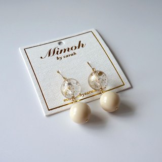 Clear and Milky White Beads Earrings