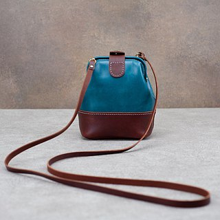 Be Two | Small doctor bag / two-color splicing mouth gold bag / leather shoulder bag / leather backpack