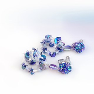 Three-dimensional sequin embroidery mysterious blue-purple ear clip