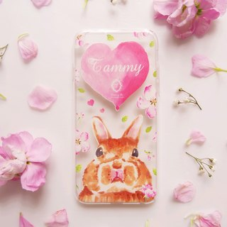 Pink heart-shaped mobile phone to stay fat rabbit transparent protective soft cover (including printed name service)