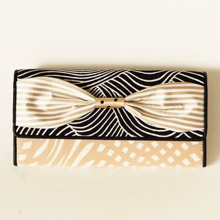 long wallet beige gold ribbon Script girl dots borders stripes