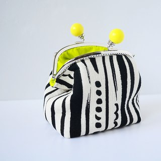 Makeup cosmetic bag. Black and white sliver