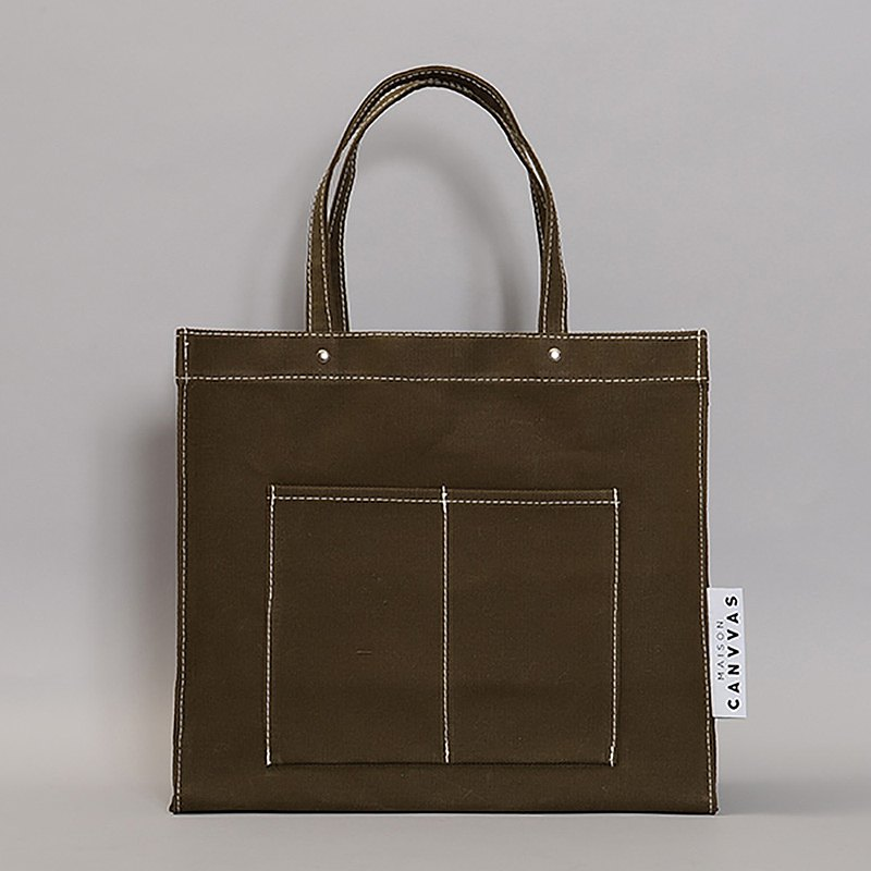Deadstock Fabric Made in Germany Pocket Tote Msize Olive