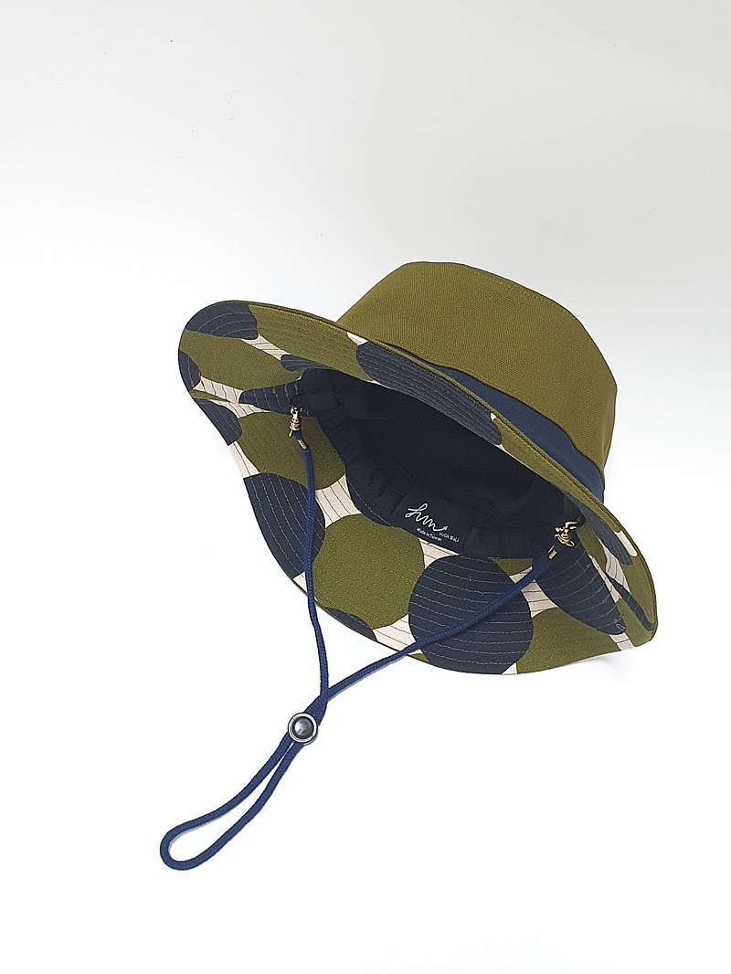 【HiGh MaLi】fashionable mountain climbing hat/three-color fight/army green+blue edge+green blue dot#日布