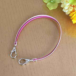 "Two-tone color Leather strap (VividPink and PalePink) ""Clasps:Silver"""