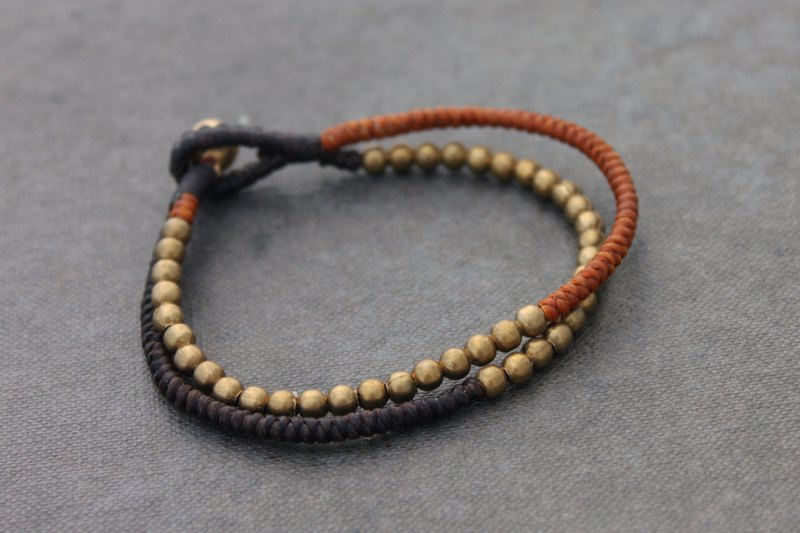 Brass Beaded Woven Earth Tone Multi Strand Bracelets Unisex Hippy Tibetan