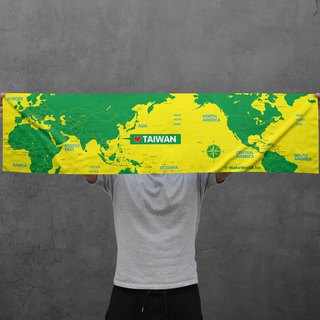 Make World map manufacturing sports towel (yellow green)