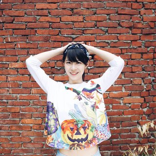 Pumpkin_Handmade Light Cotton Cropped Sleeve Top