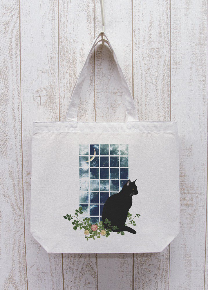 Standing black cat window side MOON Odekake Tote (natural) / RPB009