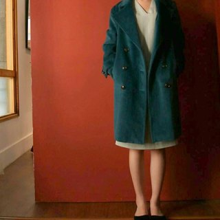 Emerald blue-green wool coat Kashimier