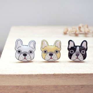 Fadou family handmade earrings fighting dog anti-allergic ear acupuncture painless ear clip