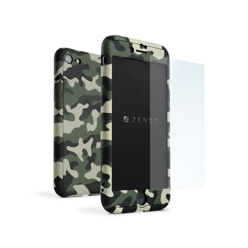 ZENDO iPhone 7 Special NanoSkin EX Full Cover Case - Camouflage Green (4589903520038)