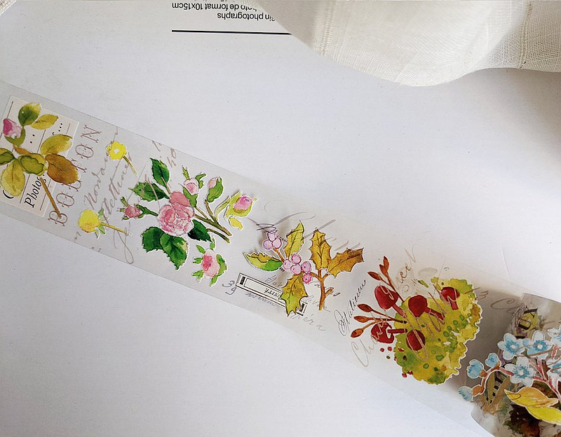 5 cm small flower-PET tape 10M / with release paper + white ink bright surface transparent #23