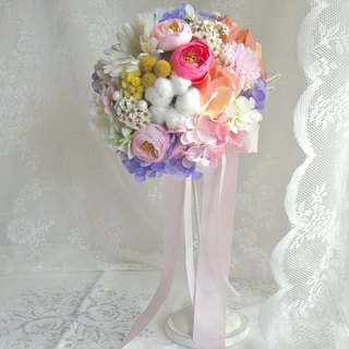 Masako Funeral Cotton Lulian Bridal Bouquet Simulation Flower Mix Dry Flower Eternal Flower (5/15~ Send)